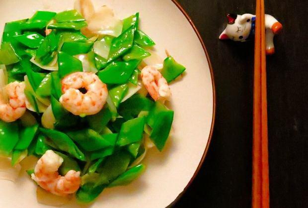 百合甜豆炒虾仁